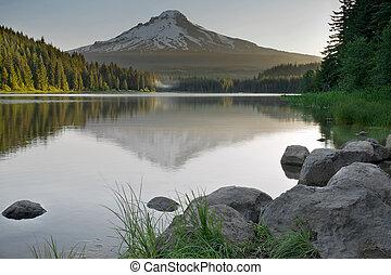 反映, 爬升, 湖, 俄勒冈, trillium, 兜帽