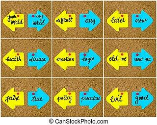 反義詞, 概念, 寫, 上, 相反, 箭