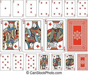 反面, 玩, 鑽石, 大小, 卡片, 加上, 橋梁