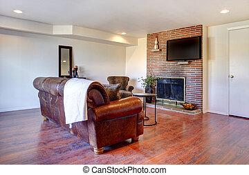 反響室, ∥で∥, 革ソファー, そして, fireplace.