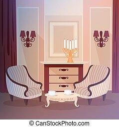 反響室, クラシック, 型, 燭台, 内部, 家, 家具