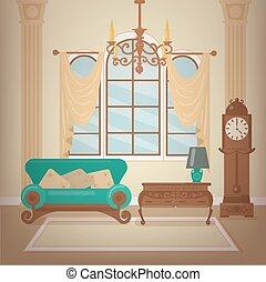 反響室, クラシック, 甘い, シャンデリア, clocks., 型, 内部, 家