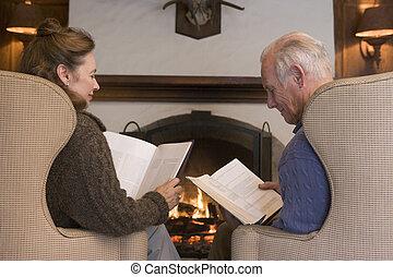 反響室, モデル, 恋人, 読書, 暖炉