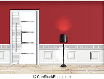 反響室, 内部, ∥で∥, a, 床 ランプ, そして, 白, ドア