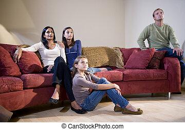 反響室, 家族, モデル, tv の 監視, ソファー, interracial