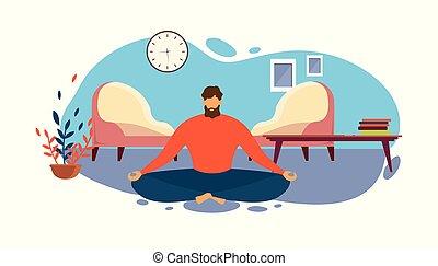 反響室, 床, ロータス, 瞑想しなさい, ポジション, 人