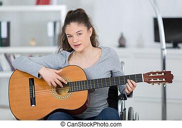 反響室, 彼女, ギター, 不具, 女の子, 遊び
