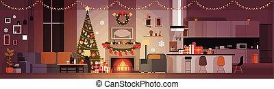 反響室, 旗, 新しい, 木, 松, ホリデー, 花輪, 年, 内部, 家, 横, 暖炉, 飾られる, クリスマス