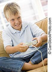 反響室, 男の子, 若い, コントローラー, ゲーム, ビデオ, 微笑