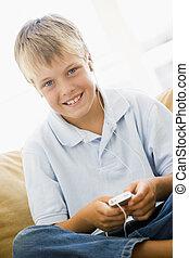 反響室, 男の子, 若い, プレーヤー, mp3, 微笑