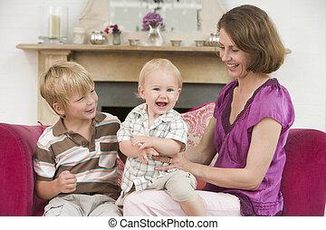 反響室, 男の子, 若い, 母, 赤ん坊, 微笑