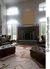 反響室, 革, 大きい, 椅子, 暖炉