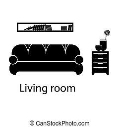 反響室, furniture., ホテル, 内部, 家