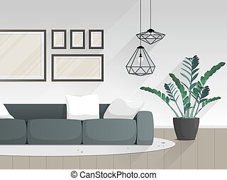 反響室, furniture., 平ら, 現代, 内部, style.