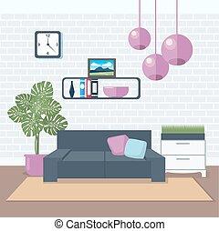 反響室, furniture., room., 現代, イラスト, ベクトル, interior., minimalism, style., design.