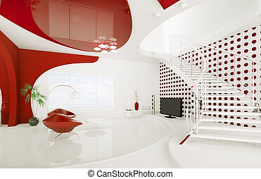 反響室, render, 現代, デザイン, 内部, 3d