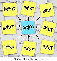 反馈, -, 粘性的笔记, 板, 输入, 消息
