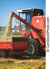収穫する, トラクター, 小麦, コンバイン