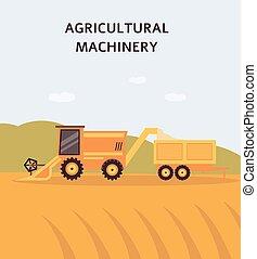収穫機, 小麦, コンバイン, 収集, 田園, 穀物, フィールド, 黄色