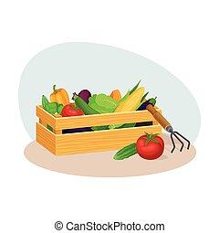 収穫, フルである, 木枠, 野菜, 木製である, イラスト, ベクトル, 収穫する