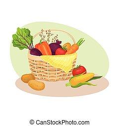 収穫, フルである, 野菜, バスケット, 枝編み細工, イラスト, ベクトル, 収穫する