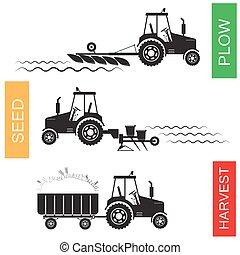 収穫, 成長する, そして, 収穫する, の, 農業