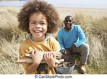 収集, キャンプ, まき, 父, 息子, 休日, 浜