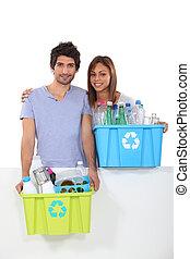 収集, 恋人, プラスチック, リサイクル