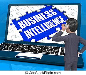 収集, 情報, ビジネス, 知性, ラップトップ, レンダリング, 提示, 3d