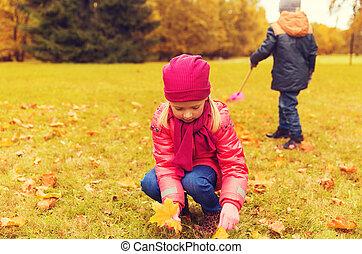 収集, 紅葉, 公園, 子供