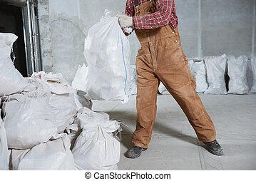 収集, 袋, 建築作業員, 無駄