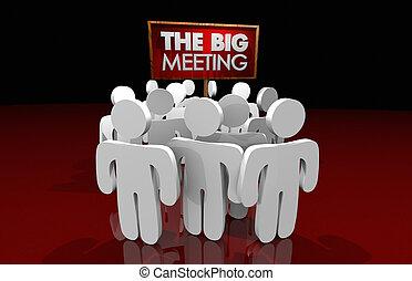 収集, attendees, のまわり, 人々, 大きい, イラスト, 印, ミーティング, 3d