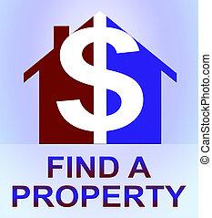 发现, a, 财产, 代表, 家搜索, 3d, 描述