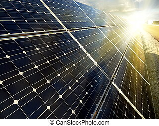 发电厂, 使用, 可更新, 太阳能