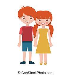 取られる, redhead, 恋人, 子供, 手