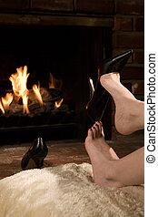取り去る, 靴, によって, 火
