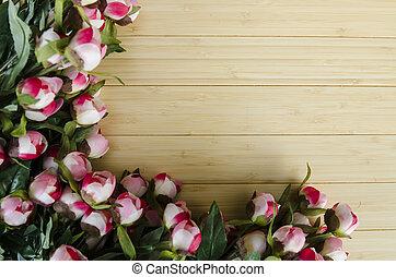 取り決められた, コピースペース, バラ, テキスト, 花, あなたの