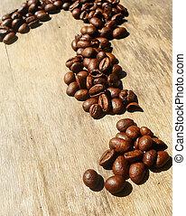 取り決められた, coffee., 豆, バックグラウンド。, 質問, 情事, 形態, 味, 木製である, 印, におい, コーヒー