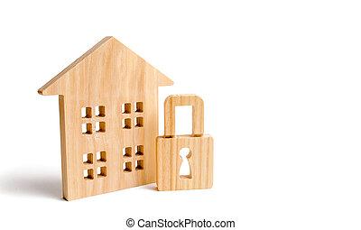 取付け, 概念, システム, 保護, サービス, 保護, 財産, 災害, 特性, 家の家, 木製である, 実質, padlock., agencies., 警報, セキュリティー, thieves., rights.