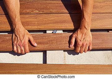 取付け, ipe, 床材, デッキ, クリップ, 木, ファスナー