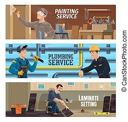 取付人, laminate, 画家, 床材, 配管工