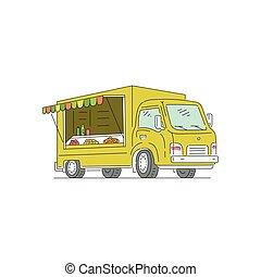 取引しなさい, ベクトル, トラック, 販売, 通り, スケッチ, イラスト, isolated., 漫画, 食物