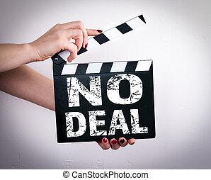 取引, いいえ, クラッパー, 映画, concept., 手を持つ
