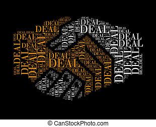 取引, テキスト, コラージュ, 作曲された, 中に, ∥, 形, の, 握手