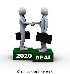 取引, ビジネス 人々, 大きい, 2020, 年, 3d