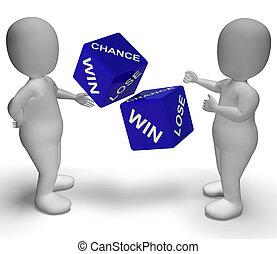 取得胜利, 失去, 骰子, 显示, 好, 或者, 坏的运气