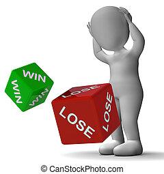 取得胜利, 失去, 骰子, 显示, 赌博