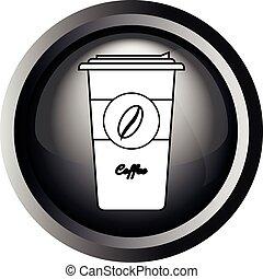 取得, コーヒー, 離れて, カード, カップ