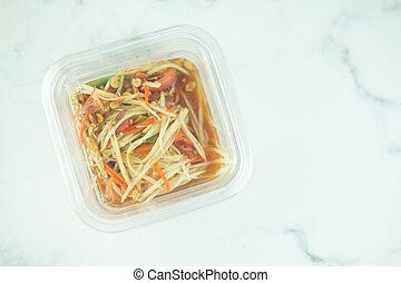 取得, サラダ, プラスチック, パパイヤ, 離れて, 箱, パックされた