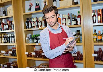 取得, セールスマン, 在庫, 店, ワイン